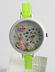 Women's Fashion Watch Quartz / PU Band Flower Casual Green Brand