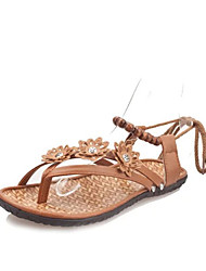 Women's Sandals Comfort PU Spring Casual Comfort Flat Heel White Light Brown Flat