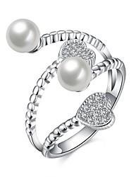 preiswerte -Ringe Hochzeit Party Besondere Anlässe Alltag Normal Schmuck Sterling Silber Künstliche Perle Zirkon Ring 1 Stück,8 Silber