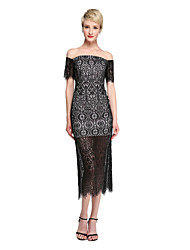 Sheath / Column Off-the-shoulder Tea Length Lace Homecoming Dress with Lace by TS Couture®