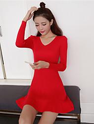 firmare in autunno 2016 nuovo temperamento abito in maglia coreano v-collo sottile del pacchetto sottile dell'anca gonna toccare il fondo