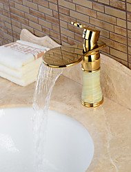 Contemporary Centerset Waterfall Ceramic Valve Single Handle One Hole Ti-PVD , Bathroom Sink Faucet