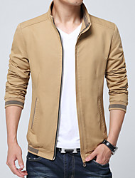cheap -Men's Basic Slim Jacket - Solid Colored Stand