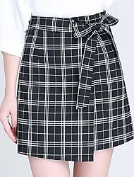Women's Plus Size A Line Check Bow Layered Skirts,Going out Casual/Daily Simple Cute High Rise Above Knee Zipper Polyester Micro-elastic