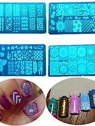 8pcs / set venta caliente de la manera DIY estampar piezas de acero inoxidable de diseño de uñas colorido dulce placa de estampación