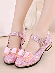 cheap -Girls' Boat Shoes Slingback PU Spring Summer Casual Slingback Low Heel Chunky Heel Gold Silver Blushing Pink 1in-1 3/4in