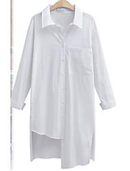 Large size women's European leg of the big wind personality irregular hem long paragraph long-sleeved shirt