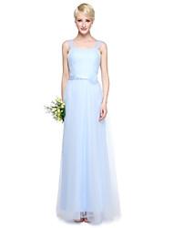 preiswerte -Mantel / Spalte V-Ausschnitt Boden Länge Tüll Brautjungfer Kleid mit Kristall Detaillierung durch yaying