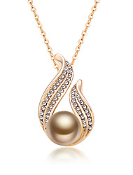 Women's Pendant Necklaces Jewelry Irregular Jewelry Pearl Imitation Pearl Rhinestone Gold Pearl Black Pearl Alloy Unique Design Fashion