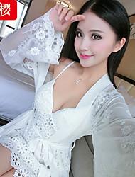 Da donna Lingerie di pizzo Raso e seta Uniformi e abiti tradizionali cinesi Indumenti da notte,Sottile Pizzo Velluto Da donna
