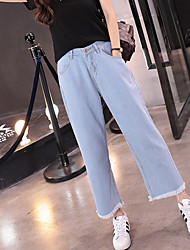 Really making plans 2016 Spring new Korean version of loose big yards high waist wide leg jeans nine points burr