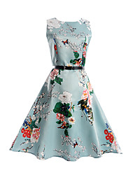 Girl's Print Dress,Polyester Spring Summer Sleeveless Floral Light Blue