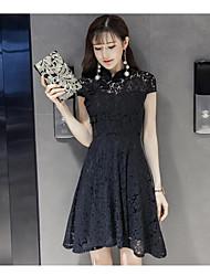 Vraiment faire 2017 printemps et l'été nouveau tempérament coréen à manches courtes robe de dentelle cheongsam robe slim une jupe mot