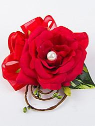 cheap -Wedding Flowers Free-form Roses Boutonnieres Wedding Party/ Evening Red / Champagne / Pink / Purple Satin