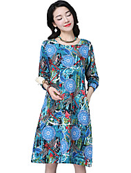 Sign 2017 new large size women's national wind cotton round neck long-sleeved dress