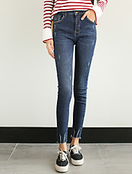 assinar versão coreana da cor estiramento fino fabulosa água bordas rasgadas desgastado calças jeans pés-calça