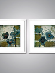 Framed Canvas Print Abstract Floral/Botanical Traditional European Style,Two Panels Canvas Square Print Wall Decor For Home Decoration