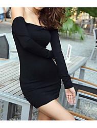cheap -Women's Cotton Bodycon Dress - Solid Colored Black High Rise Boat Neck