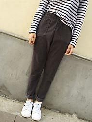 Sign 2017 spring new literary retro elastic waist corduroy pants wide Song Halun pants casual pants
