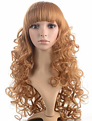 Long Wave Wig Synthetic Fiber Women Wig Brown Stylish High Temperature Hair Wire Top Wig
