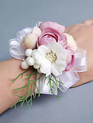 cheap -Wedding Flowers Free-form Lilies Peonies Wrist Corsages Wedding Party/ Evening Pink / Red / Peach / Purple Satin