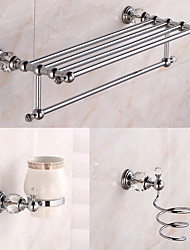Set di accessori per il bagno / Cromo Cristallo /Contemporaneo