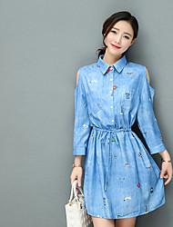 Sinal de primavera vestido de impressão nova cintura vestido de uma linha