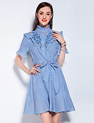 NEDO Women's Going out Casual/Daily Holiday Vintage Cute Street chic A Line Sheath DressFloral Stand Above Knee Short Sleeve Blue BlackCotton