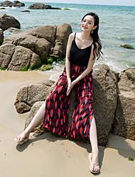 Real shot женские летние пляжные брюки culottes летние каникулы бок раскол широкий нога брюки национальный ветер цветок брюки туризм