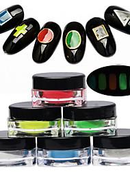 1 stk nail art noctilucent pulver lysende effekten indlysende 6 farver