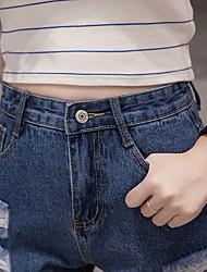 Sign spring and summer high waist denim shorts, women washed frayed denim shorts Korean students