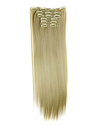 cheap -Synthetic Hair 58cm 130g with Clips 16 Clip in Hair Extensions False Hair Hairpieces Synthetic 23inch Long Straight Apply HairpieceD1014 24/613#