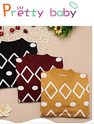 cheap -Girls' Casual/Daily Geometric Blouse, Rabbit Fur Winter Long Sleeves Black Yellow Wine