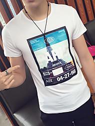 hombres&# 39; s de manga corta camiseta de algodón coreano impreso delgado corto-manga de camiseta hombres ocasionales Hombres