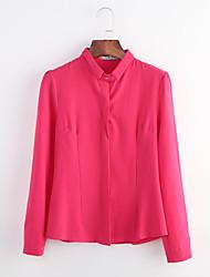 abordables -Mujer Trabajo Tallas Grandes Camisa, Cuello Camisero Un Color