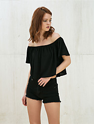 Hot sexy foreign trade in Europe and America summer solid color chiffon collar short shirt