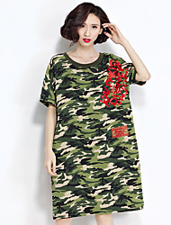 Real shot casual round neck ultra-thin camouflage print dress spring women's large size in cotton dress tide
