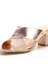 Women's Sandals Spring Summer Fall Club Shoes Synthetic Patent Leather Office & Career Dress Casual Chunky Heel Block Heel Split Joint