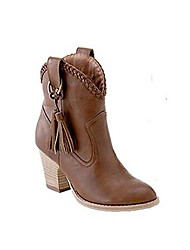 Women's Shoes PU Winter Comfort Combat Boots Boots Flat Heel For Casual Light Yellow Brown