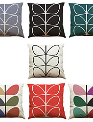 cheap -Set of 7 Colorful Leaves Pattern Linen  Cushion Cover Home Office Sofa Square  Pillow Case Decorative Cushion Covers Pillowcases As a Gift