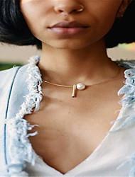 abordables -Mujer Otros Personalizado Diseño Único Perla Artificial Moda Euramerican Gargantillas Obsidiana Perla Artificial Cobre Gargantillas ,
