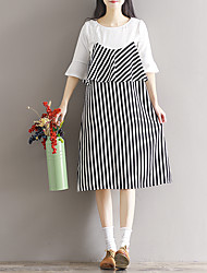Sinal 2017 primavera novo feminino vestido listrado coreano temperamento mulher solta