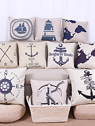 cheap -10 pcs Linen Pillow Case Pillow Cover, Graphic Prints Still Life Nautical Textured Casual Tropical Euro Outdoor Office/Business