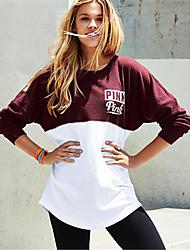 Women's Sports Sweatshirt Solid Round Neck Inelastic Cotton Linen Long Sleeve Spring