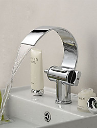 Contemporary Vessel Waterfall Ceramic Valve One Hole Two Handles One Hole Chrome , Bathroom Sink Faucet