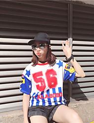 Sign Korea Harajuku style hip-hop woman digital printing personalized wild short-sleeved t-shirt loose 56