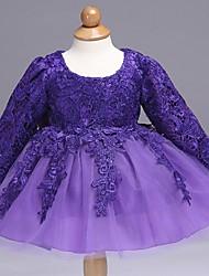 robe de bal courte / mini robe de fille de fleur - organza manches longues col de bijoux avec arc (s) dentelle par ydn
