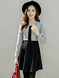 Sign Korean women new autumn temperament was thin waist fake two-piece long-sleeved dress