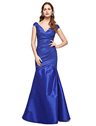 cheap -Mermaid / Trumpet V Neck Floor Length Taffeta Cocktail Party / Formal Evening / Holiday Dress with Pleats by TS Couture®