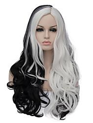 Недорогие -Парики из искусственных волос Жен. Искусственные волосы Парик Длинные Без шапочки-основы Черный / Белый